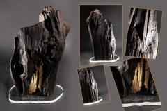 Skulptur Goldader; Mooreichenfundstück teilvergoldet 24 Karat von Manfred mit Sockel aus Acryl - Johannes Stark